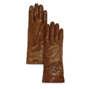 Tory Burch Miller Leather Gloves Brown 7.5 NWT!